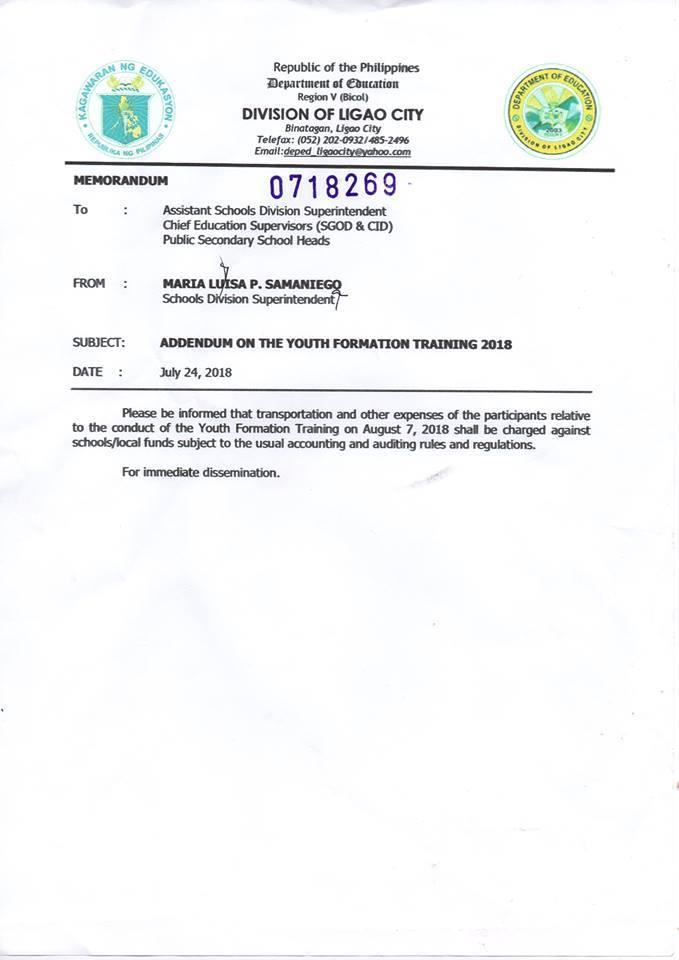 SDO Ligao City Advisory CY 2018
